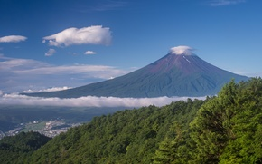 Picture the sky, clouds, trees, landscape, mountain, Japan, Fuji