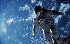 Picture the moon, planet, astronaut, the suit, Earth, effect, astronaut, gait