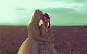 Picture field, summer, girls, dress, pair
