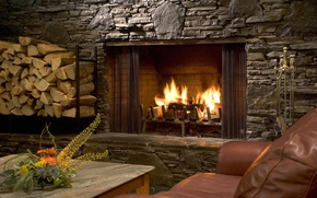 Picture table, sofa, flame, wood, flame, fireplace, sofa, table, fireplace, firewood