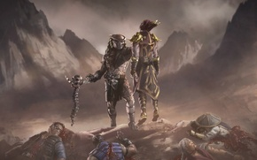 Picture mountains, skull, Predator, Predator, Raiden, Shinnok, Johnny cage, Sub zero