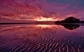 Picture sand, sunset, reflection, river, the evening, twilight