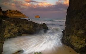Wallpaper sea, the sky, stones, Wave