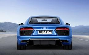 Picture the sky, Audi, sports car, blue, V10, 2015
