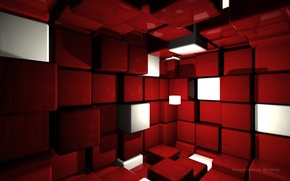 Wallpaper Red, Cube Room, Cubes, Cubes