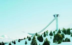 Wallpaper winter, The plane, slide