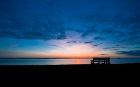 Picture the sky, the sun, clouds, bench, lake, sunrise, dawn, Morning, horizon, shop