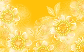 Picture flowers, yellow, pattern