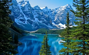 Picture snow, trees, lake, Banff National Park, Canada, Moraine