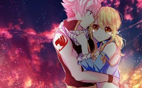 Wallpaper the sky, girl, clouds, anime, tears, art, pair, guy, two, fairy tail, tale of fairy ...