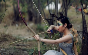 Picture forest, face, makeup, bow, arrow, Asian