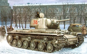 Picture war, art, painting, tank, ww2, KV-1