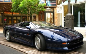 Picture machine, blue, tree, street, sports, jaguar, xj 220, home .