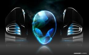 Picture fog, head, alien, brand, alienware, the system unit