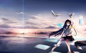 Picture the sky, look, water, stars, sunset, the city, smile, ray, pigeons, girl, Art, virtuality, original, …