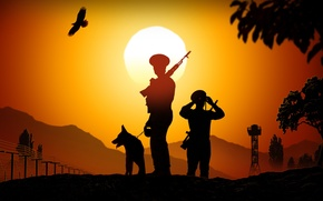 Picture border, key, art, soldiers, silhouettes, boundary, sunset, castle, the band, pocket., guards