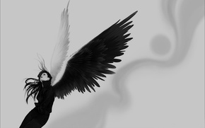 Wallpaper girl, wings, black