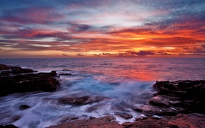 Picture sea, the sky, clouds, sunset, stones, surf
