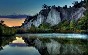 Picture fog, rocks, Lake, 151