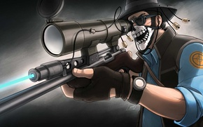 Picture hat, glasses, sniper, sight, rifle, shawl, team fortress 2, sniper, sovereign, tf 2