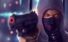 Picture eyes, girl, gun, hood