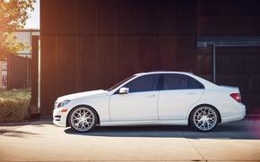 Picture white, profile, Mercedes, white, Mercedes, benz, c250, c-class