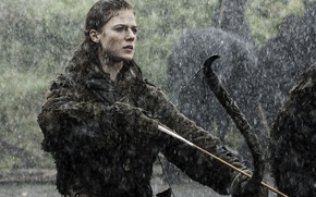 Picture girl, rain, bow, Game Of Thrones, Game of Thrones, Rose Leslie, Rose Leslie, Ygritte