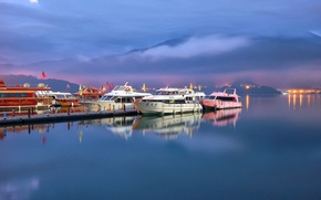 Picture the sky, mountains, lake, ship, pier, boat