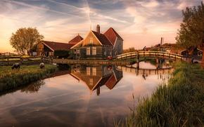Picture bridge, river, home, Netherlands