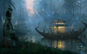 Picture river, palm trees, boat, ritual, tent, Osiris funeral, Path to duat