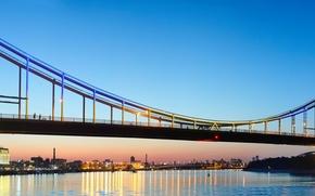 Wallpaper Kiev, bridge, home, panorama, lights, the evening, Kiev, lights, Ukraine, Pedestrian bridge, river, sunset