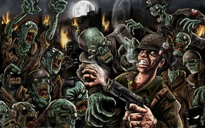 Picture gun, fire, the moon, soldiers, zombies, zombies, the living dead, cigarette