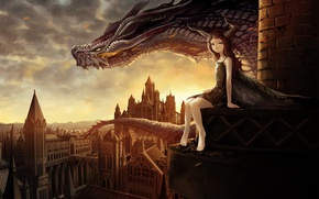 Picture the city, dragon, girl, art