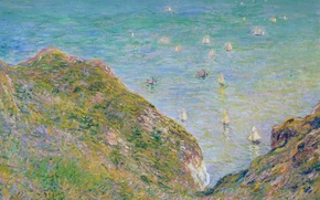 Picture sea, landscape, picture, boats, Claude Monet, View from the Rocks in Purvile. Clear Weather