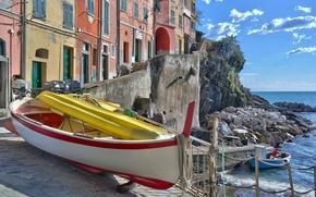 Picture sea, boat, home, Bay, Italy, Riomaggiore, Cinque Terre