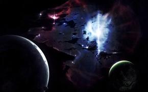 Wallpaper momentum, planet, nebula