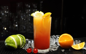 Picture ice, cherry, glass, orange, juice, cocktail, lime, citrus, FL