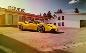 Picture Ferrari, yellow, Rosso, tuning, Ferrari, Novitec, 488 GTB, car, novitek