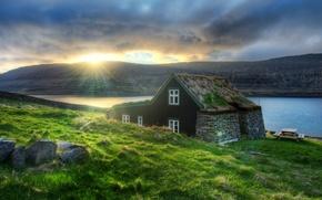 Wallpaper the sun, house, river, Europe, Iceland, Iceland, Reykjavik