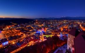 Picture mountains, lights, castle, home, Christmas, the evening, twilight, Alps, Slovenia, slovenia