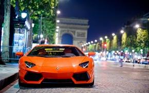 Wallpaper Lamborghini, Lamborghini, Paris, Aventador, road, LP700-4, the city, bokeh, night, Lamborghini, Aventador