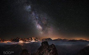 Wallpaper stars, clouds, mountains, night, fog, the milky way
