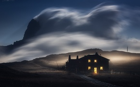 Wallpaper the sky, light, night, house, the wind, mountain
