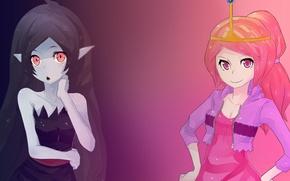 Picture Marceline, the Vampire Queen, Princess Bubblegum, The Adventure Time