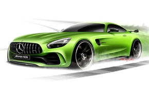 Picture Mercedes-Benz, white background, Mercedes, AMG, GT3, C190