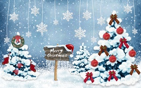 Wallpaper New Year, snow, forest, Merry, Design by Marika, Christmas, tree, Christmas, decoration, winter