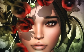 Picture eyes, look, girl, flowers, face, lips