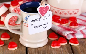 Picture love, coffee, Cup, hearts, valentine's day
