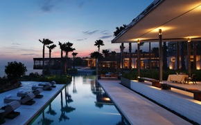 Picture palm trees, Villa, the evening, pool, Bali
