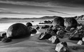 Wallpaper black and white, stones, shore, round